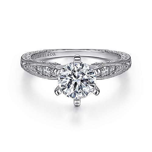 Gabriel - Kate 18k White Gold Round Straight Engagement Ring