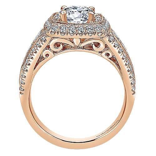 Kathleen 14k Rose Gold Round Halo Engagement Ring angle 2