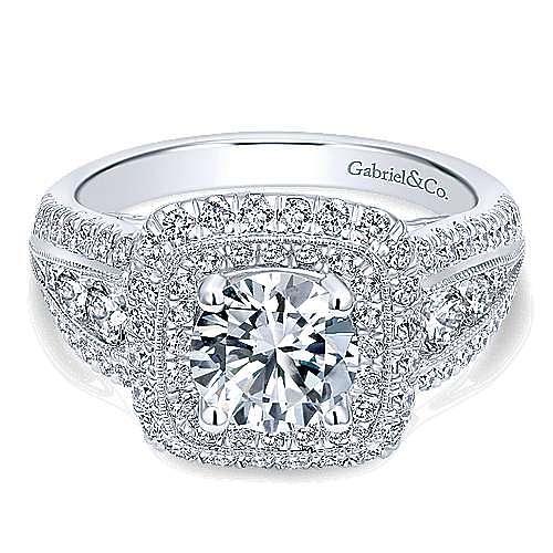 Gabriel - Kathleen 14k White Gold Round Double Halo Engagement Ring