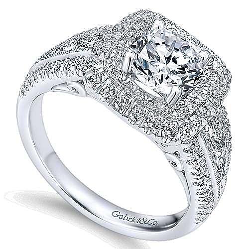 Kathleen 14k White Gold Round Double Halo Engagement Ring angle 3