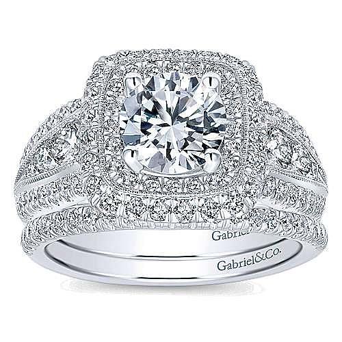 Kathleen 14k White Gold Round Double Halo Engagement Ring angle 4