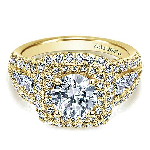 Gabriel - Kathleen 14k Yellow Gold Round Halo Engagement Ring