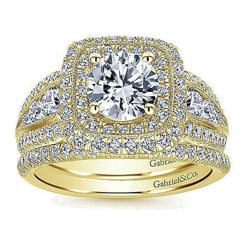 Kathleen 14k Yellow Gold Round Halo Engagement Ring angle 4
