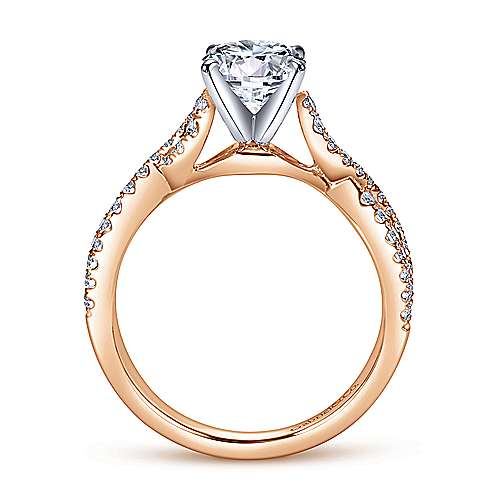 Kayla 14k White And Rose Gold Round Twisted Engagement Ring angle 2