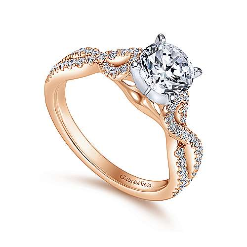 Kayla 14k White And Rose Gold Round Twisted Engagement Ring angle 3