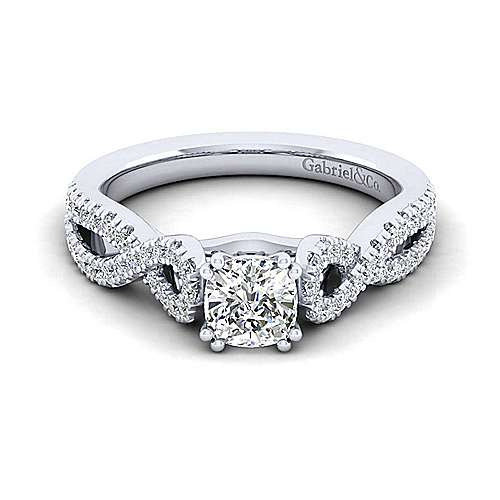 Kayla 14k White Gold Cushion Cut Twisted Engagement Ring angle 1