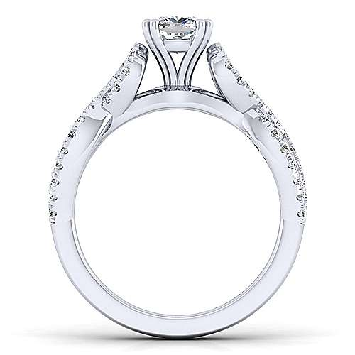 Kayla 14k White Gold Cushion Cut Twisted Engagement Ring angle 2