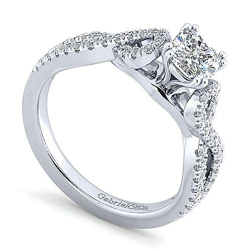 Kayla 14k White Gold Cushion Cut Twisted Engagement Ring angle 3