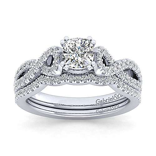 Kayla 14k White Gold Cushion Cut Twisted Engagement Ring angle 4