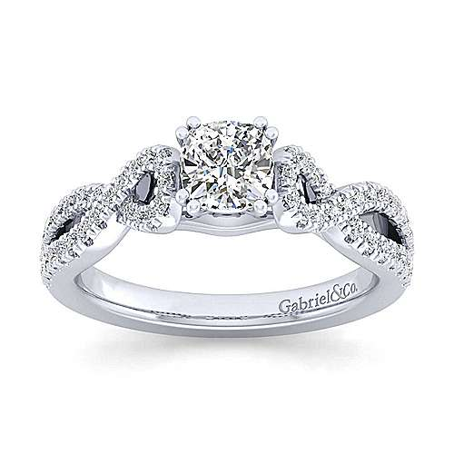 Kayla 14k White Gold Cushion Cut Twisted Engagement Ring angle 5