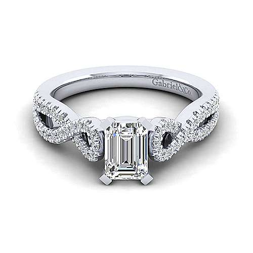 Gabriel - Kayla 14k White Gold Emerald Cut Twisted Engagement Ring