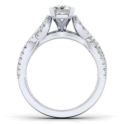 Kayla 14k White Gold Emerald Cut Twisted Engagement Ring angle 2