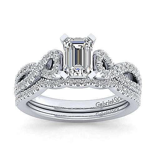 Kayla 14k White Gold Emerald Cut Twisted Engagement Ring angle 4