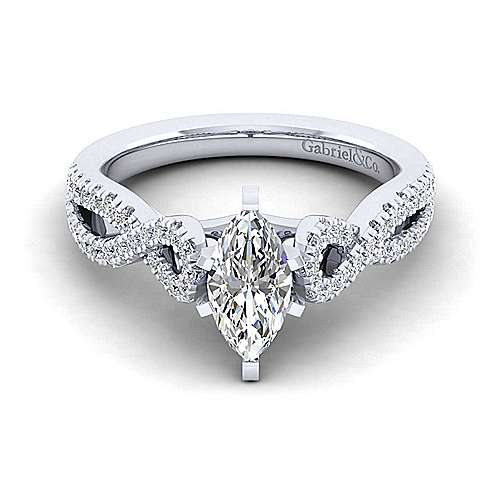 Gabriel - Kayla 14k White Gold Marquise  Twisted Engagement Ring