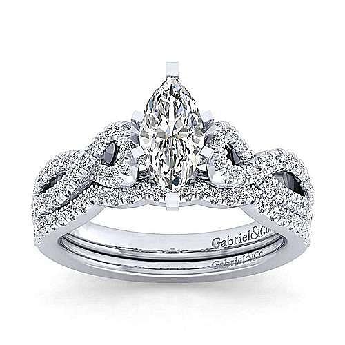 Kayla 14k White Gold Marquise  Twisted Engagement Ring angle 4