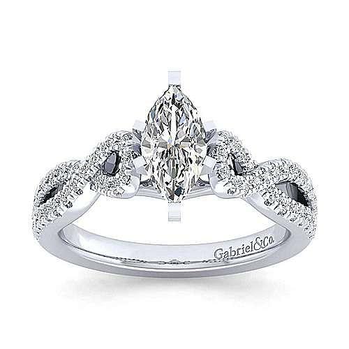 Kayla 14k White Gold Marquise  Twisted Engagement Ring angle 5