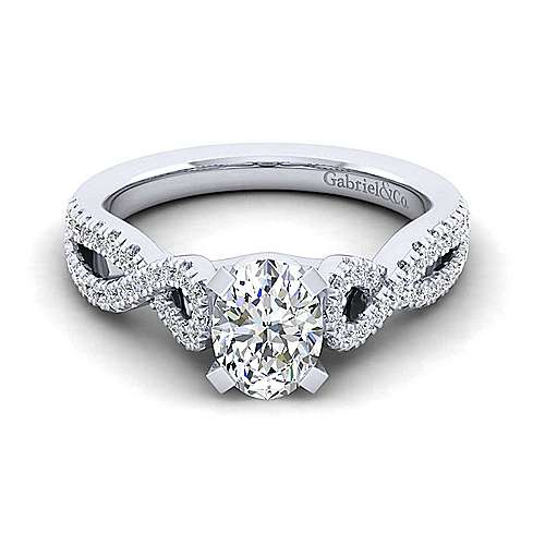 Gabriel - Kayla 14k White Gold Oval Twisted Engagement Ring
