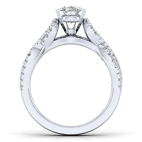 Kayla 14k White Gold Oval Twisted Engagement Ring angle 2