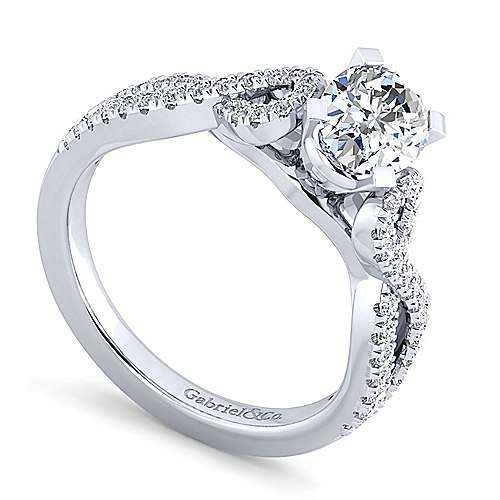 Kayla 14k White Gold Oval Twisted Engagement Ring angle 3