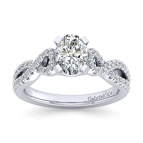 Kayla 14k White Gold Oval Twisted Engagement Ring angle 5