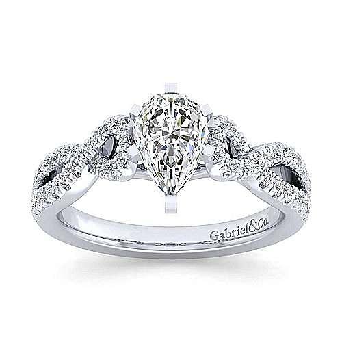 Kayla 14k White Gold Pear Shape Twisted Engagement Ring angle 5