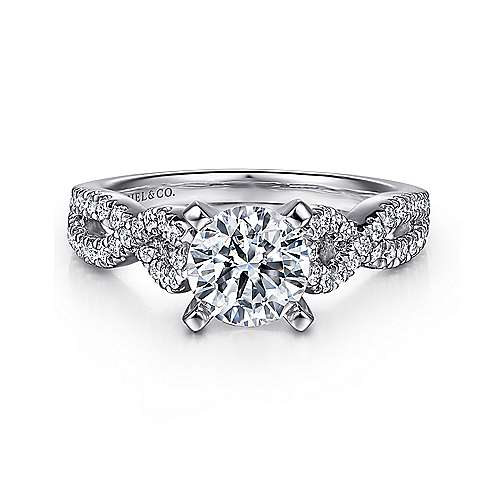 Gabriel - Kayla 14k White Gold Round Twisted Engagement Ring