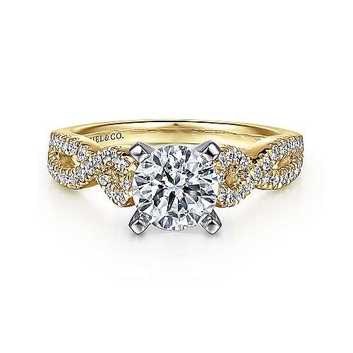 Gabriel - Kayla 14k Yellow And White Gold Round Twisted Engagement Ring