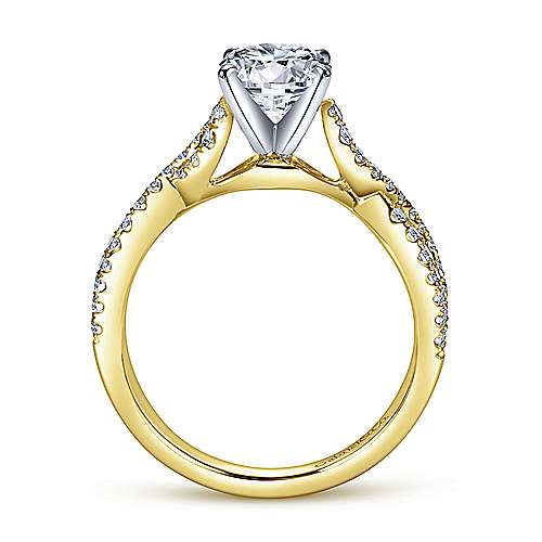 Kayla 14k Yellow And White Gold Round Twisted Engagement Ring angle 2