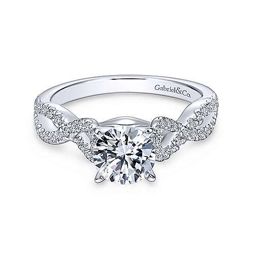 Gabriel - Kayla 18k White Gold Round Twisted Engagement Ring