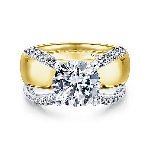 Gabriel - Keiko 18k Yellow And White Gold Round Split Shank Engagement Ring