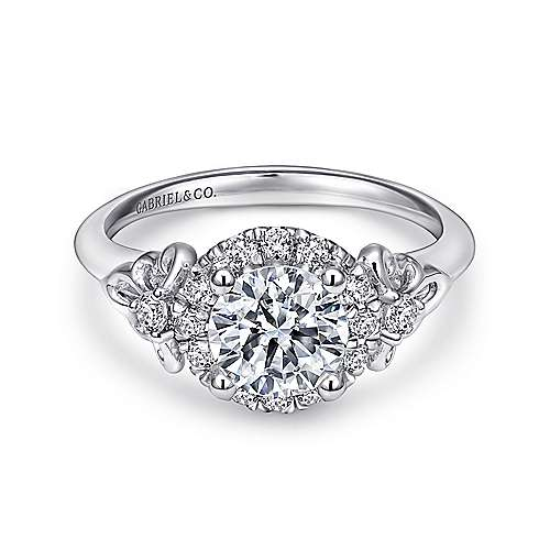 Gabriel - Keisha 18k White Gold Round Halo Engagement Ring