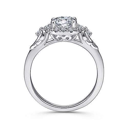 Keisha 18k White Gold Round Halo Engagement Ring angle 2