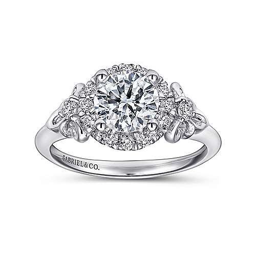 Keisha 18k White Gold Round Halo Engagement Ring angle 5