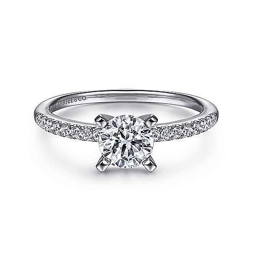 Gabriel - Kelly 14k White Gold Round Straight Engagement Ring