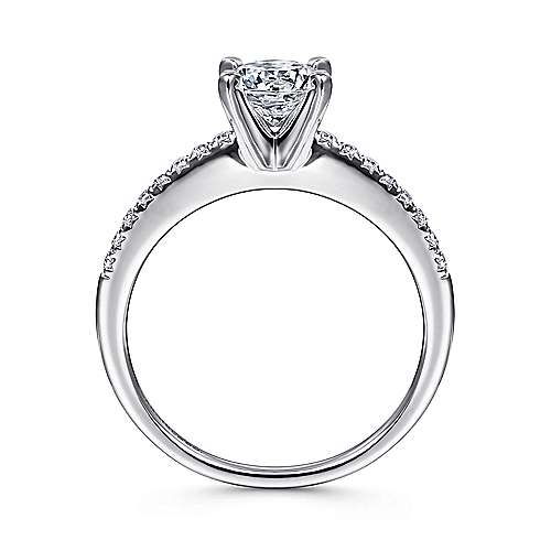 Kelly 14k White Gold Round Straight Engagement Ring angle 2