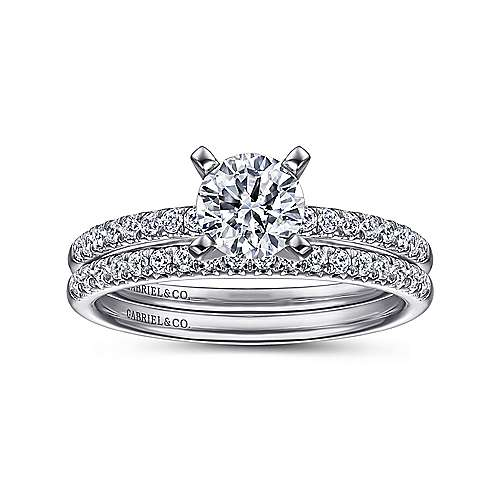 Kelly 14k White Gold Round Straight Engagement Ring angle 4
