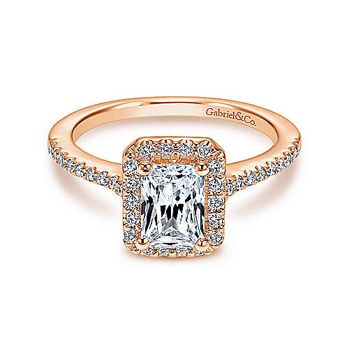 Gabriel - Kelsey 14k Rose Gold Emerald Cut Halo Engagement Ring