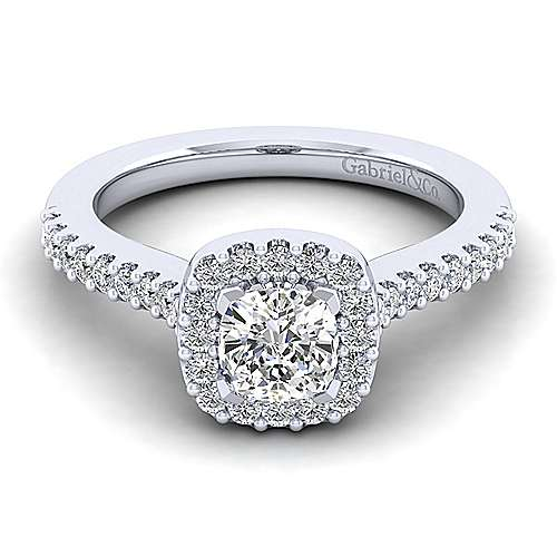 Gabriel - Kelsey 14k White Gold Cushion Cut Halo Engagement Ring