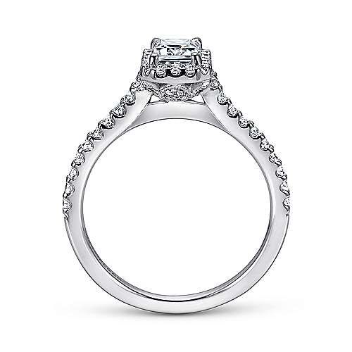 Kelsey 14k White Gold Emerald Cut Halo Engagement Ring angle 2