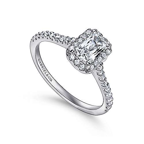 Kelsey 14k White Gold Emerald Cut Halo Engagement Ring angle 3