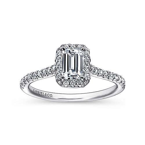 Kelsey 14k White Gold Emerald Cut Halo Engagement Ring angle 5