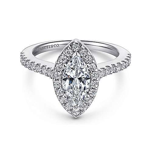 Gabriel - Kelsey 14k White Gold Marquise  Halo Engagement Ring