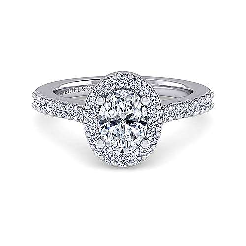Gabriel - Kelsey 14k White Gold Oval Halo Engagement Ring