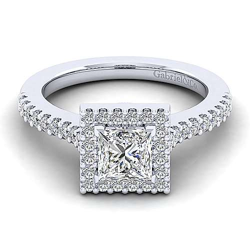 Gabriel - Kelsey 14k White Gold Princess Cut Halo Engagement Ring