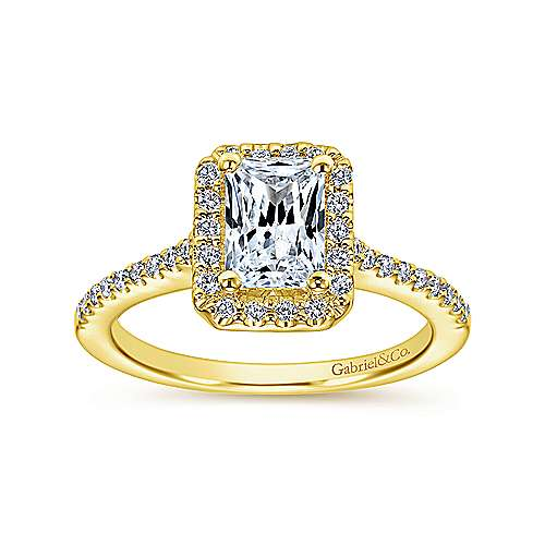 Kelsey 14k Yellow Gold Emerald Cut Halo Engagement Ring angle 5