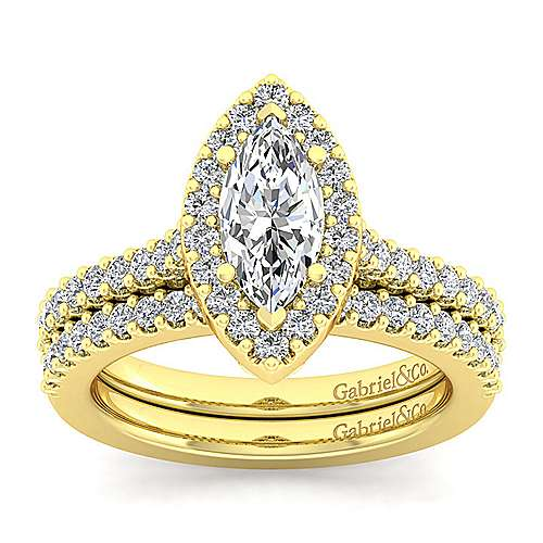 Kelsey 14k Yellow Gold Marquise  Halo Engagement Ring angle 4