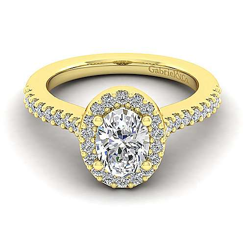 Kelsey 14k Yellow Gold Oval Halo Engagement Ring angle 1