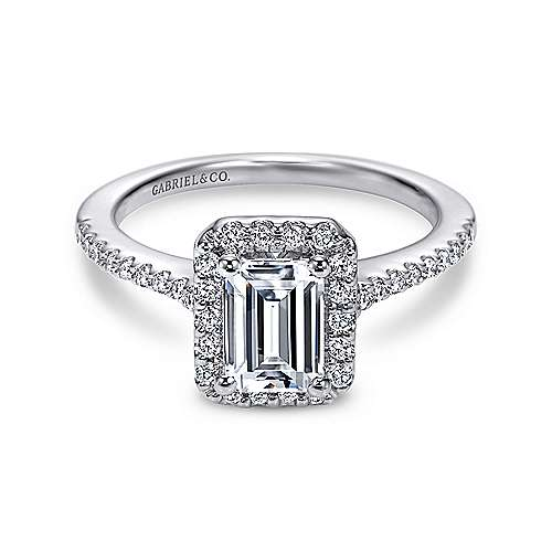 Gabriel - Kelsey Platinum Emerald Cut Halo Engagement Ring