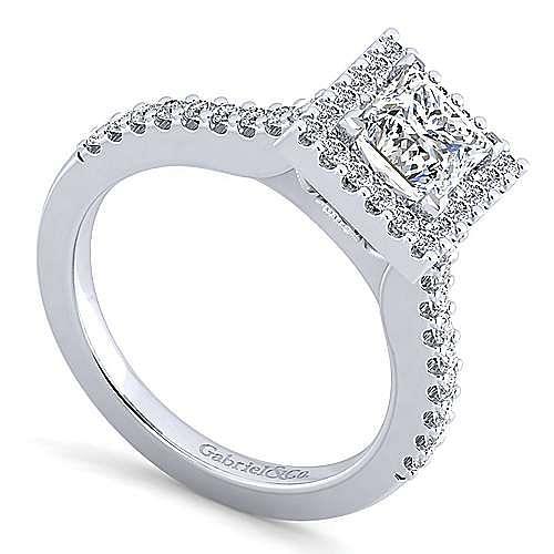 Kelsey Platinum Princess Cut Halo Engagement Ring angle 3