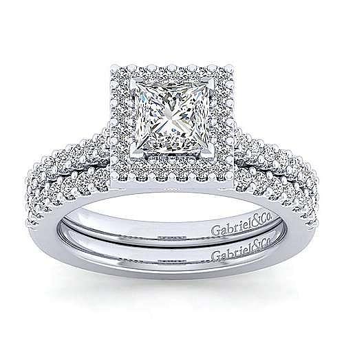 Kelsey Platinum Princess Cut Halo Engagement Ring angle 4